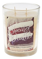 16 Oz Triple Pour Scented Glass Candle - Sweater Weather