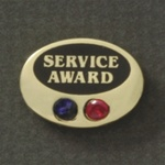 GEM OVAL AWARD PIN W/ 2 STONES