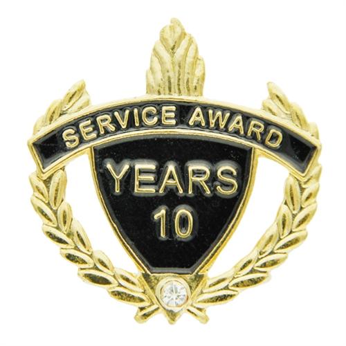 10 Year Rhinestone Service Pin
