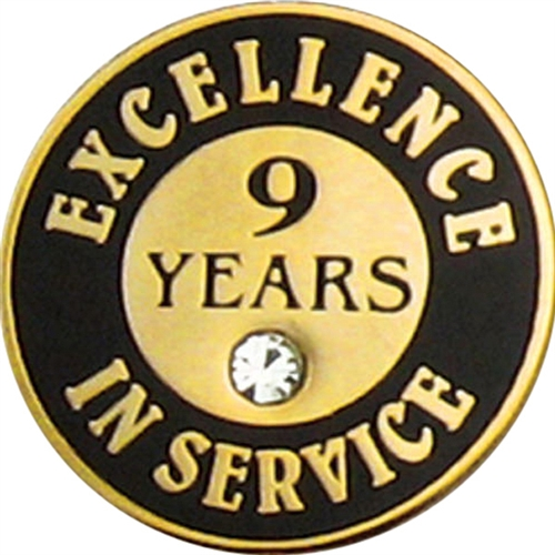 9 Years Of Service Pin W Stone