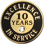 10 YEARS OF SERVICE PIN W/ STONE