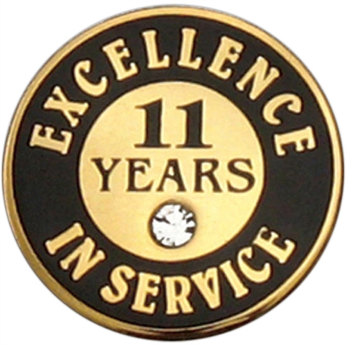 11 Years Of Service Pin W Stone