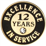 12 YEARS OF SERVICE PIN W/ STONE