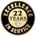 22 YEARS OF SERVICE PIN W/ STONE