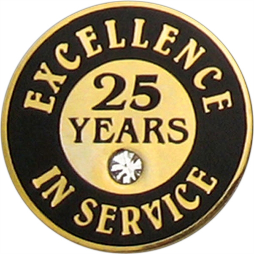 25 Years Of Service Pin W Stone