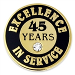 45 YEARS OF SERVICE PIN W/ STONE