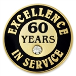 60 YEARS OF SERVICE PIN W/ STONE