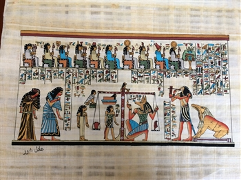 Egyptian Hand-Made Papyrus Painting- Hall Judgement