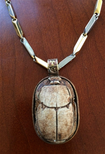 Scarab Stone with Stainless Steel Necklace