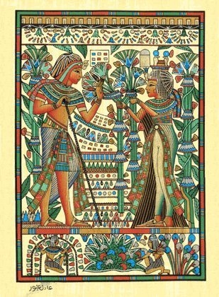 Egyptian Hand-made Papyrus Painting  (King Tut and Wife)