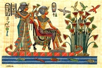 Egyptian Hand-Made Papyrus Painting - Royalty cruising the Nile