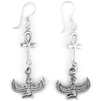 Winged Isis & Ankh Earrings