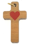 Wood Cross with Red Heart