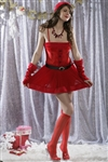Wholesale Miss Santa Claus dress with belt, matching hat, arm wamer, and stockings