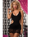 Wholesale Plus size Seamless dress with plunge neckline and galloon lace