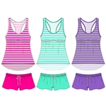 Rayon jersey racerback sleep short set