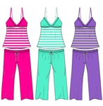 Wholesale Rayon jersey cami and capri sleep set