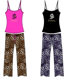 Wholesale Cheetah Cami and Capri PJ Set