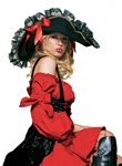 Swashbuckler hat with lace trim and satin bows