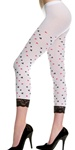 Opaque card suit print leggings with lace trim