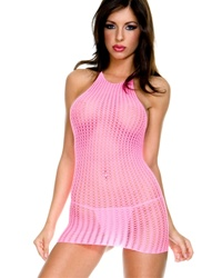 Crochet halter neck mini dress
