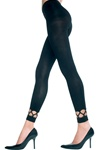 Spandex leggings with diamond net trim