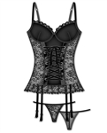 Plus size mesh and lace bustier set with lace-up front and garters