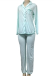 Wholesale Dots printed Cotton spandex long sleeve pajama set with rounded side slits.