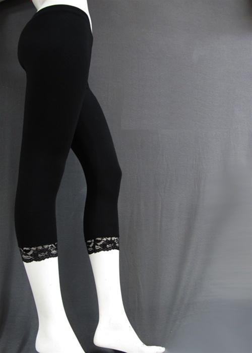 Wholesale Cotton spandex capri leggings with lace trim ...