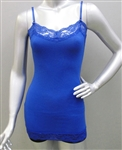 Wholesale Plus size full length Cotton spandex Camisole top with lace trims
