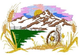 Mountain Scene and Wagon Wheel Head Panel Insert