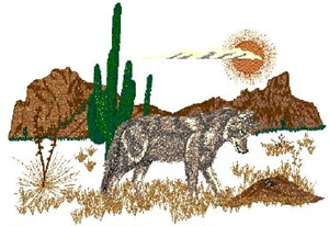 Coyote & Desert Scene Head Panel Insert