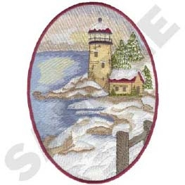 Winter Lighthouse Head Panel Insert