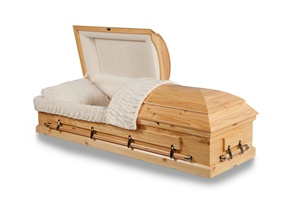 Natural Pine Solid Wood Casket