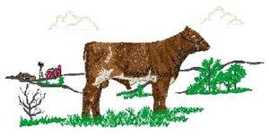 Shorthorn Yearling Bull Scene Head Panel Insert