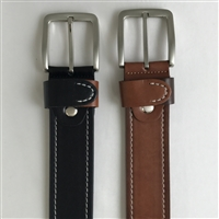 LEATHER BELT WITH STITCHING
