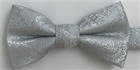 1700 Silver Paisley Wedding Boy's Bow