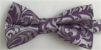 1998 Plum/Silver Floral Wedding Boy's Bow