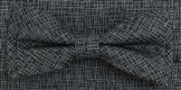 3751 ZAZZI bow & pocket square in a charcoal tone on tone pattern