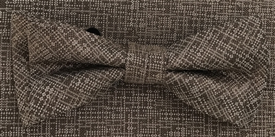3751 ZAZZI bow & pocket square in a mocca tone on tone pattern