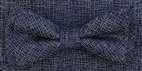 3751 ZAZZI bow & pocket square in a navy tone on tone pattern