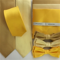 B1764 Golds/Yellows ZAZZI Solid Tie, Bow & Pocket Square