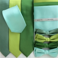 B1764 Greens ZAZZI Solid Tie, Bow & Pocket Square