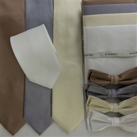 B1764 Neutrals ZAZZI Solid Tie, Bow, Pocket Square