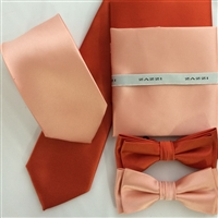 B1764 Oranges ZAZZI Solid Tie, Bow & Pocket Square