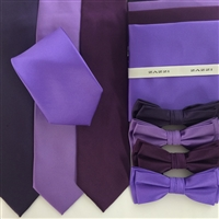 B1764 Purples ZAZZI Solid Tie, Bow & Pocket Square