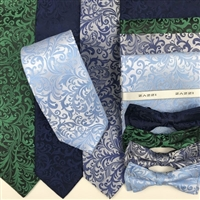 B1998 Blues ZAZZI Floral Wedding Tie, Bow & Pocket Square