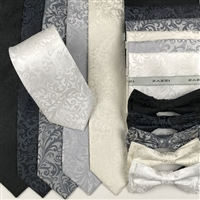 B1998 Monotone ZAZZI Floral Wedding Tie, Bow & Pocket Square