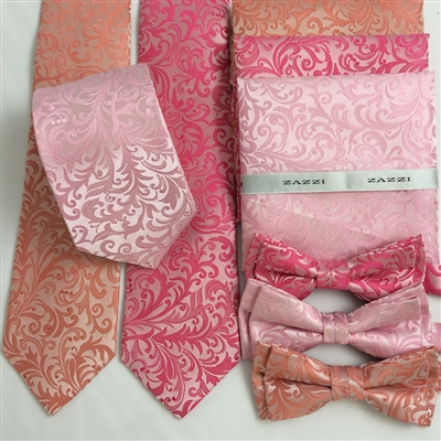 B1998 Pinks ZAZZI Floral Wedding Tie, Bow, Pocket Square & Face Mask