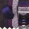 B1998 Purples ZAZZI Floral Wedding Tie, Bow, Pocket Square & Face Mask